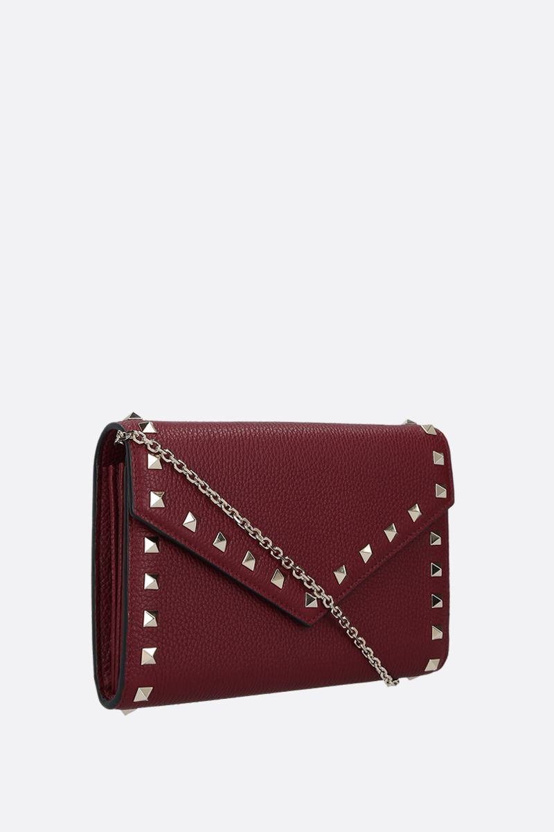 VALENTINO GARAVANI: Rockstud grainy leather chain wallet Color Red_2