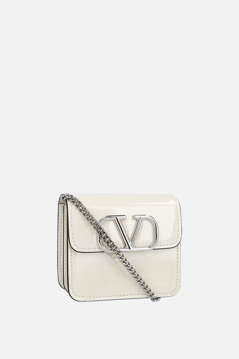 VALENTINO GARAVANI: VSLING patent leather chain wallet Color Neutral_2
