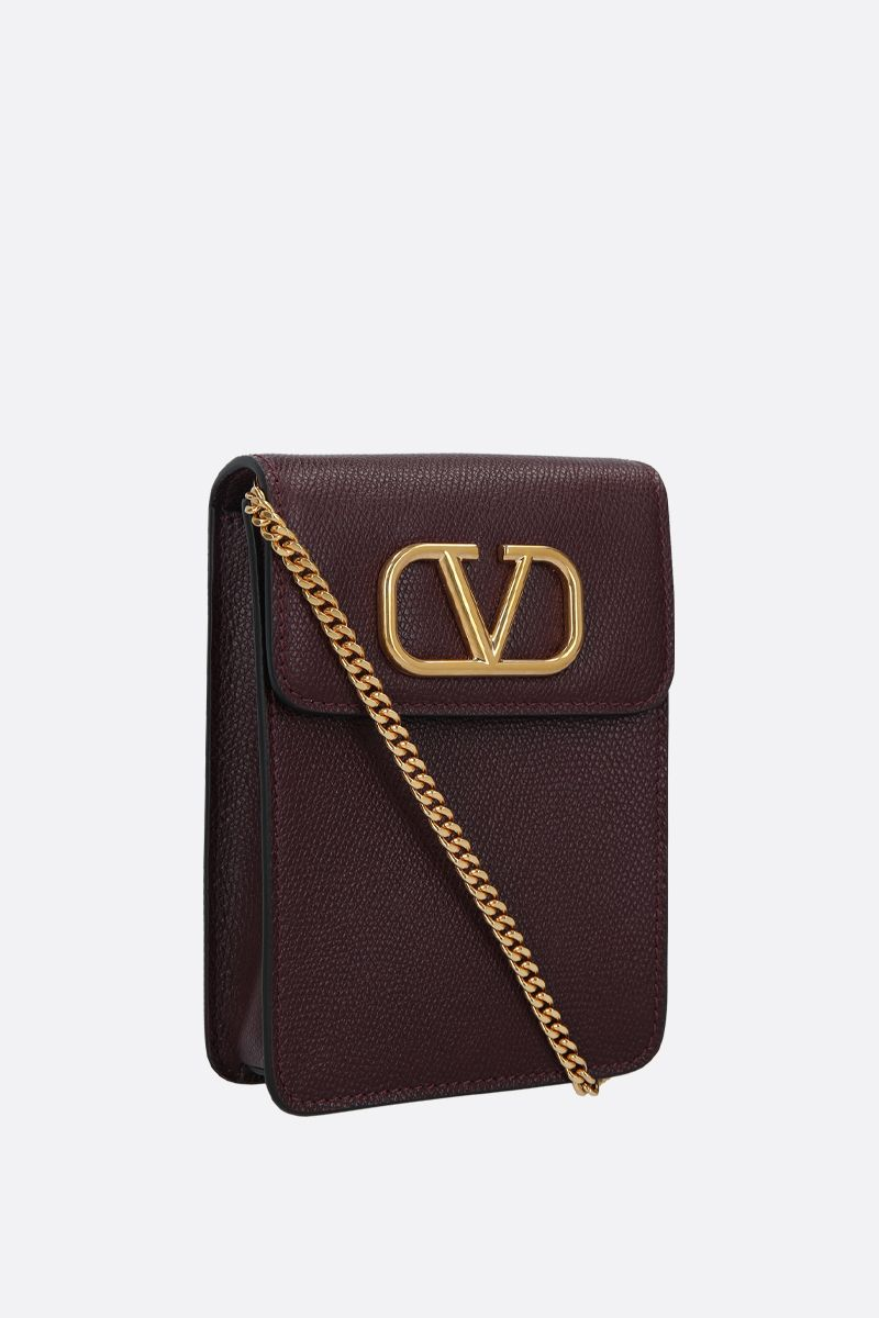 VALENTINO GARAVANI: VLOGO grainy leather phone pouch Color Red_2