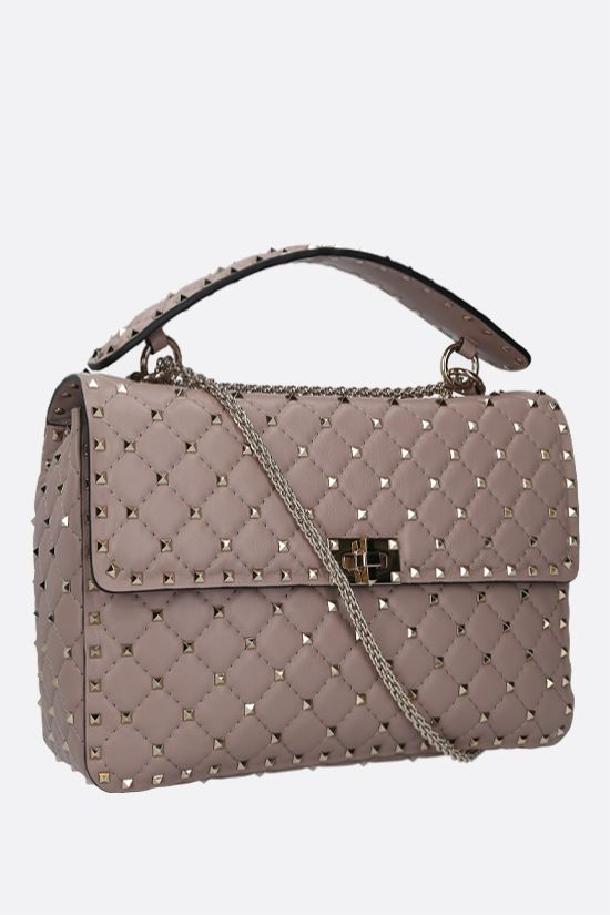 VALENTINO GARAVANI: Rockstud Spike large quilted nappa crossbody bag Color Neutral_2