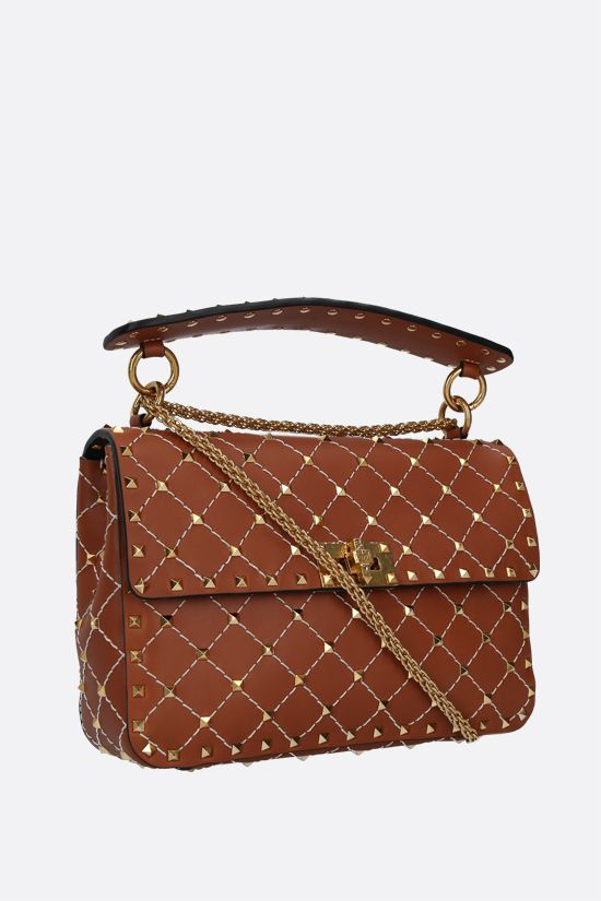 VALENTINO GARAVANI: Rockstud Spike medium smooth leather crossbody bag Color Brown_2