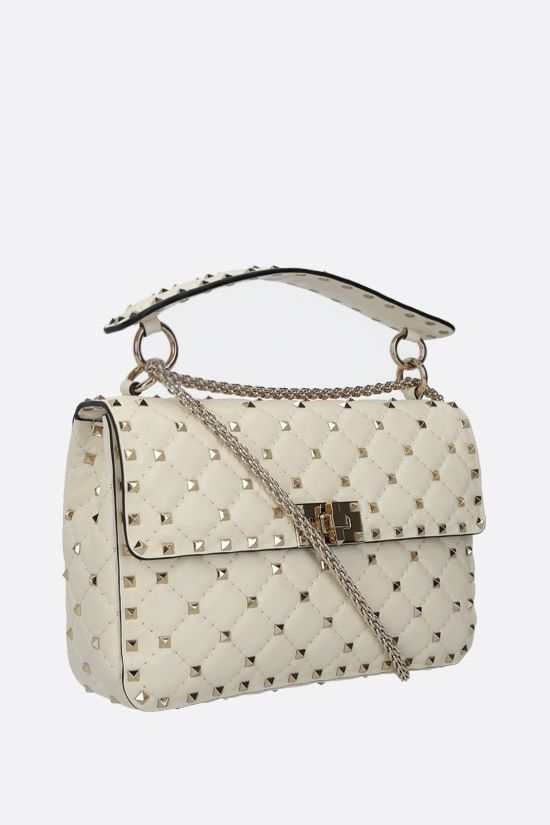VALENTINO GARAVANI: Rockstud Spike medium quilted nappa crossbody bag Color Neutral_2