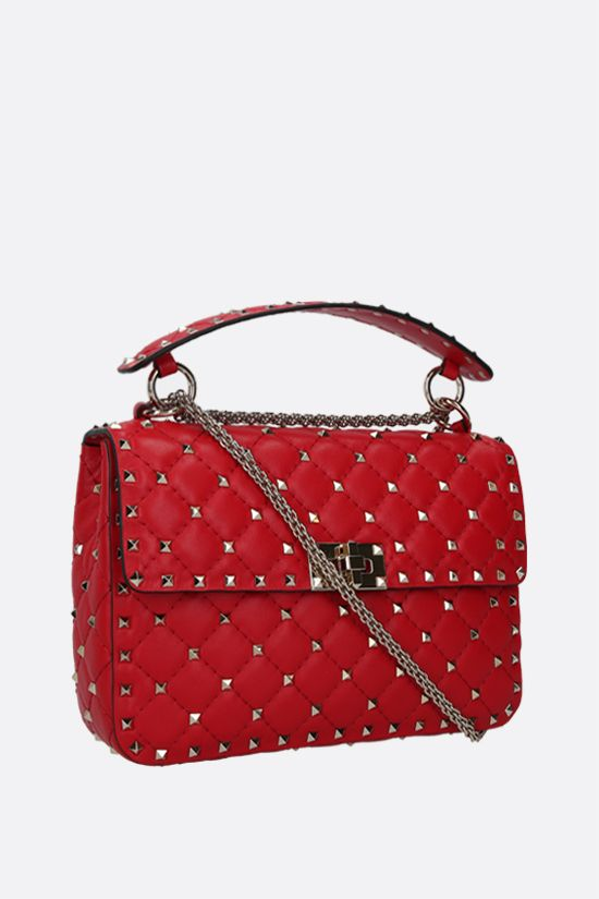 VALENTINO GARAVANI: Rockstud Spike medium quilted nappa crossbody bag Color Red_2