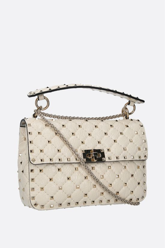 VALENTINO GARAVANI: Rockstud Spike medium craquelè leather crossbody bag Color Neutral_2