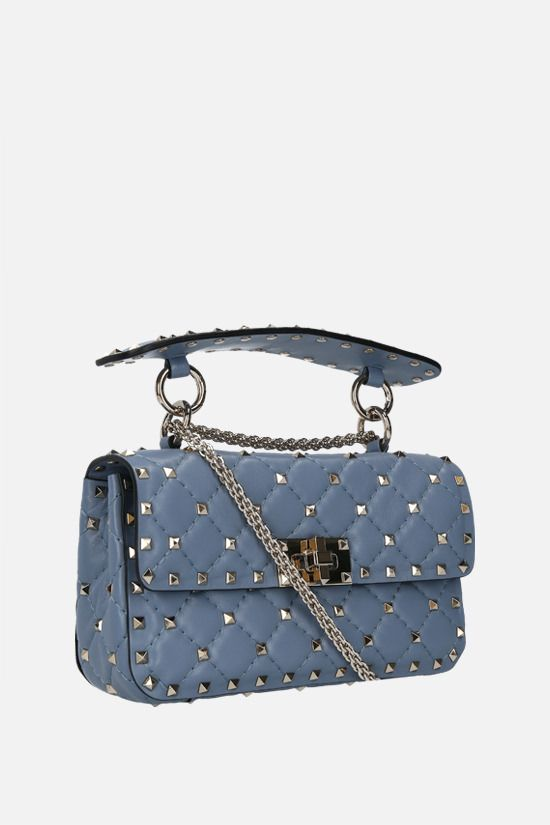 VALENTINO GARAVANI: Rockstud Spike small quilted nappa chain bag Color Blue_2