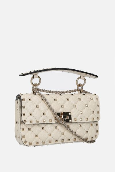VALENTINO GARAVANI: Rockstud Spike small craquelè leather chain bag Color Neutral_2