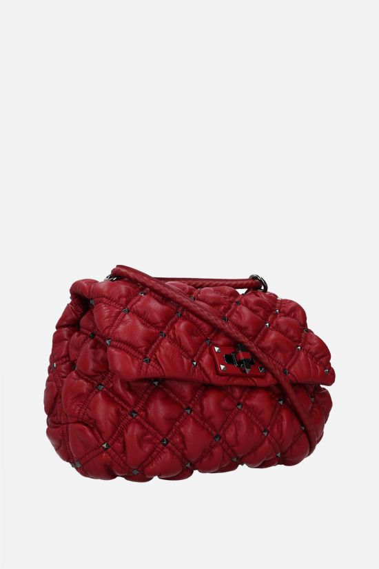 VALENTINO GARAVANI: SpikeMe medium quilted nappa shoulder bag Color Red_2