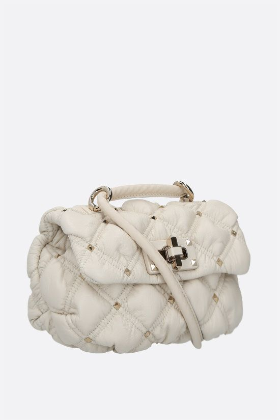 VALENTINO GARAVANI: SpikeMe small quilted nappa shoulder bag Color Neutral_2