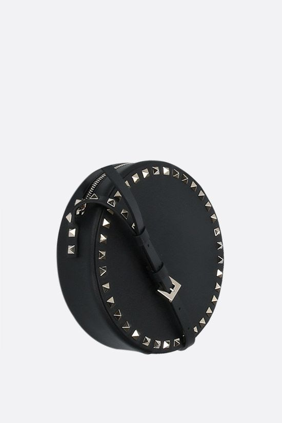 VALENTINO GARAVANI: Rockstud smooth leather round shoulder bag Color Black_2