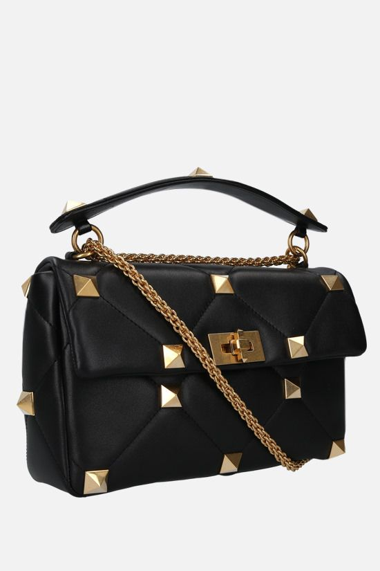 VALENTINO GARAVANI: Roman Stud quilted nappa crossbody bag Color Black_2