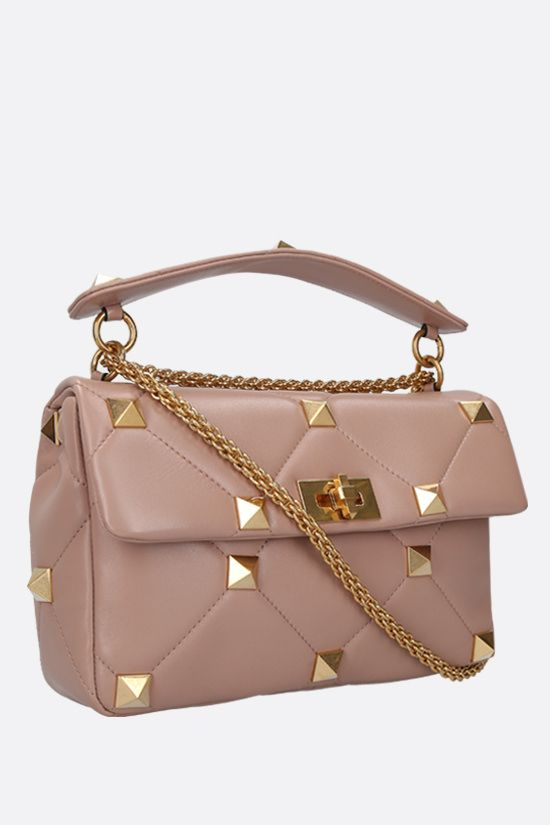 VALENTINO GARAVANI: Roman Stud quilted nappa crossbody bag Color Pink_2