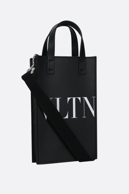 VALENTINO GARAVANI: VLTN mini smooth leather tote bag Color Black_2