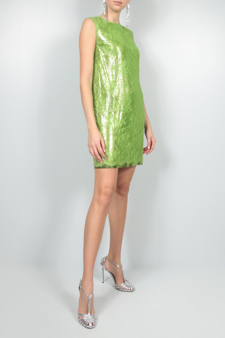 GIANNI VERSACE: Oroton metal mesh and lace pencil dress Color Green_2