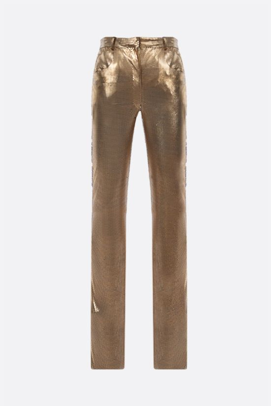 GIANNI VERSACE: skinny-fit Oroton metal mesh pants Color Gold_1