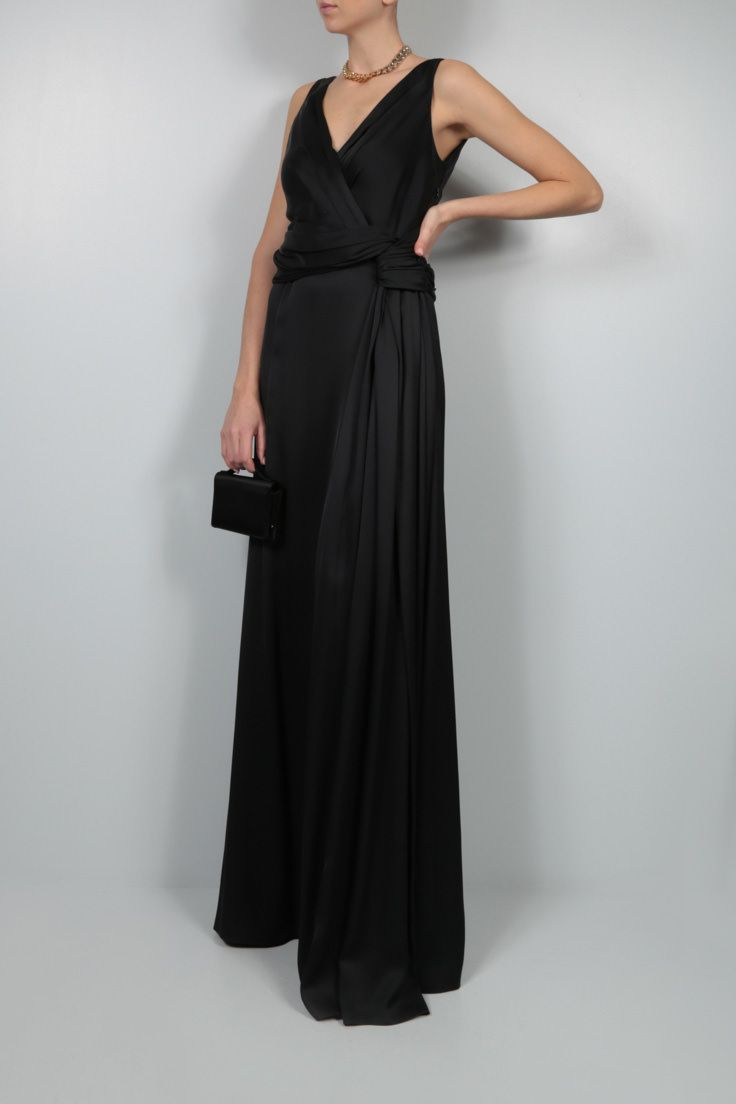 DIOR: silk satin long dress Color Black_2
