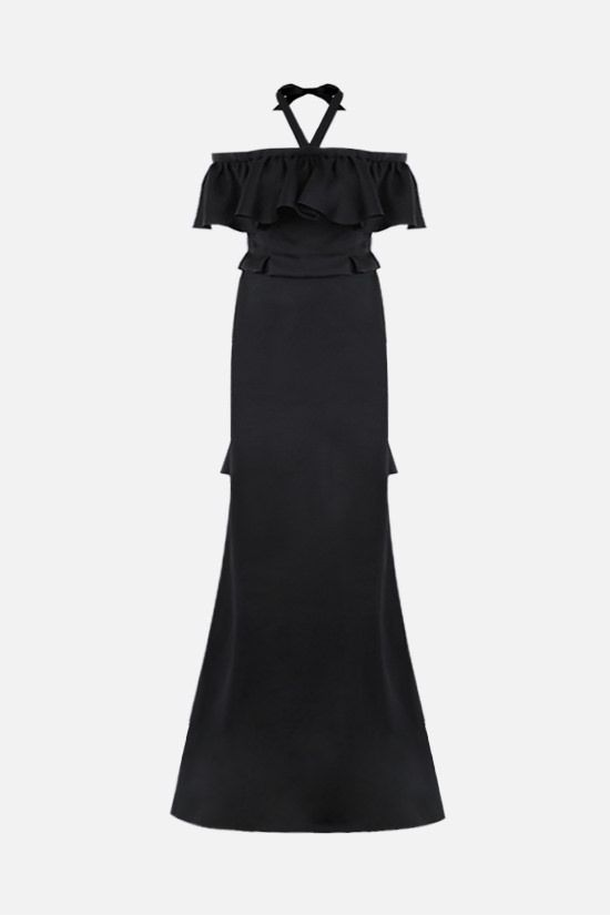 DEREK LAM: bow-detailed silk off-the-shoulder dress Color Black_1