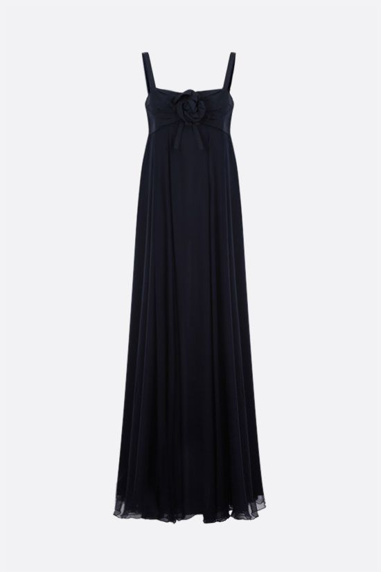 DIOR: grosgrain bodice chiffon long dress Color Blue_1