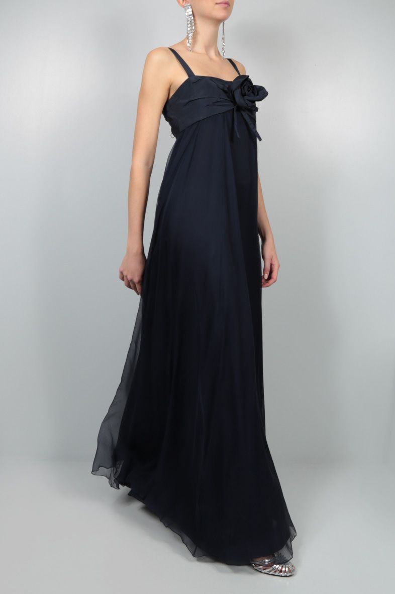 DIOR: grosgrain bodice chiffon long dress Color Blue_2