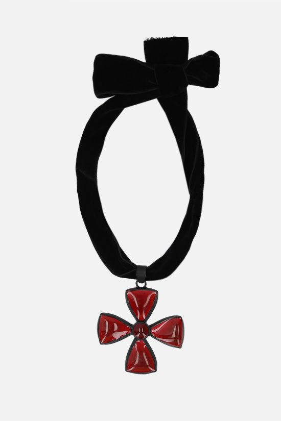 TOM FORD: cross-shaped charm velvet necklace Color Red_1