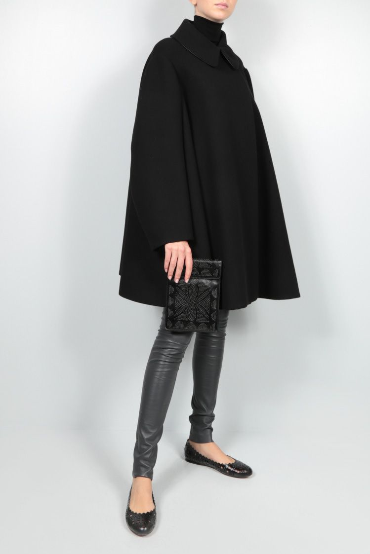 ALAIA: oversized wool cape coat Color Black_2