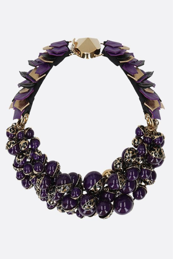 DIOR: resin pearl-embellished brass necklace Color Purple_1