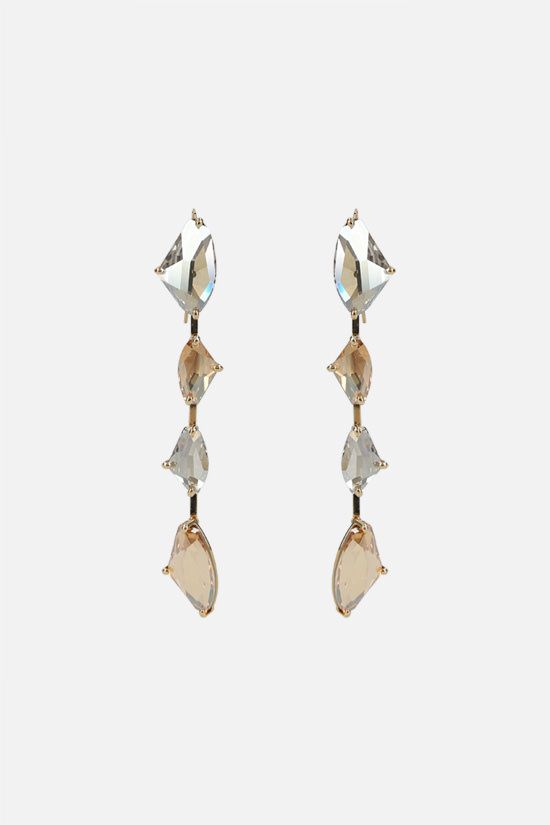 TOM FORD: crystal-embellished brass pendant earrings Color Gold_1