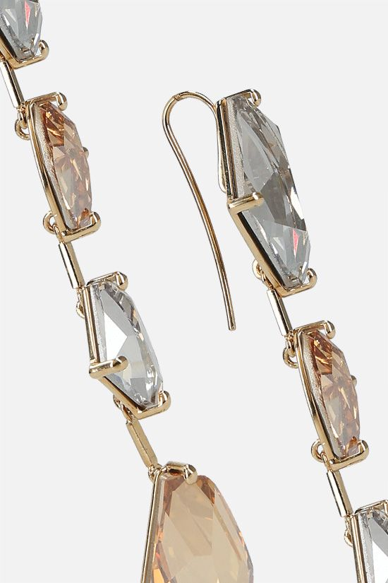TOM FORD: crystal-embellished brass pendant earrings Color Gold_2