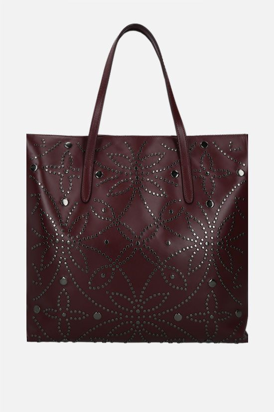 ALAIA: studded leather tote bag Color Red_1