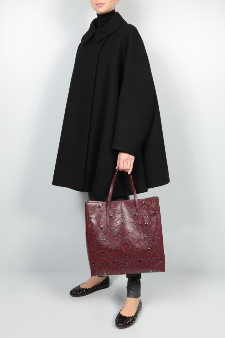 ALAIA: studded leather tote bag Color Red_2