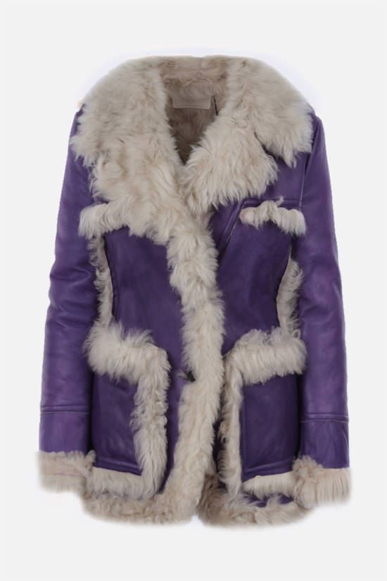 PRADA: single-breasted shearling jacket Color Purple_1