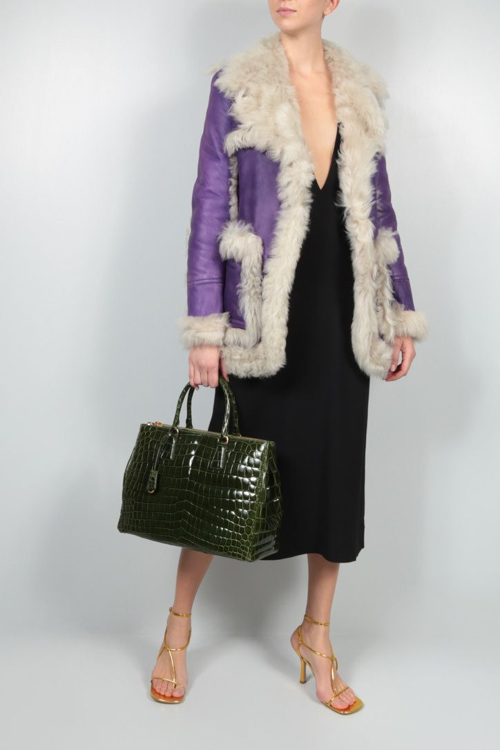PRADA: single-breasted shearling jacket Color Purple_2