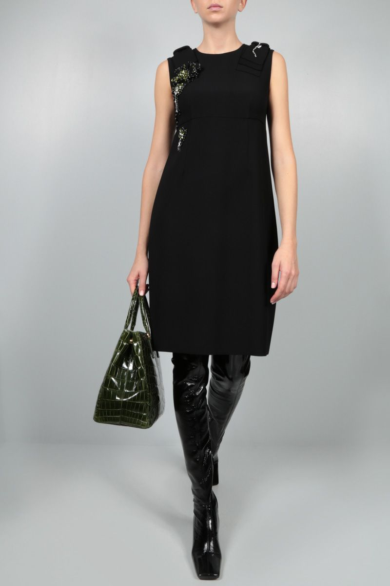 PRADA: jewel patch cady minidress Color Black_2