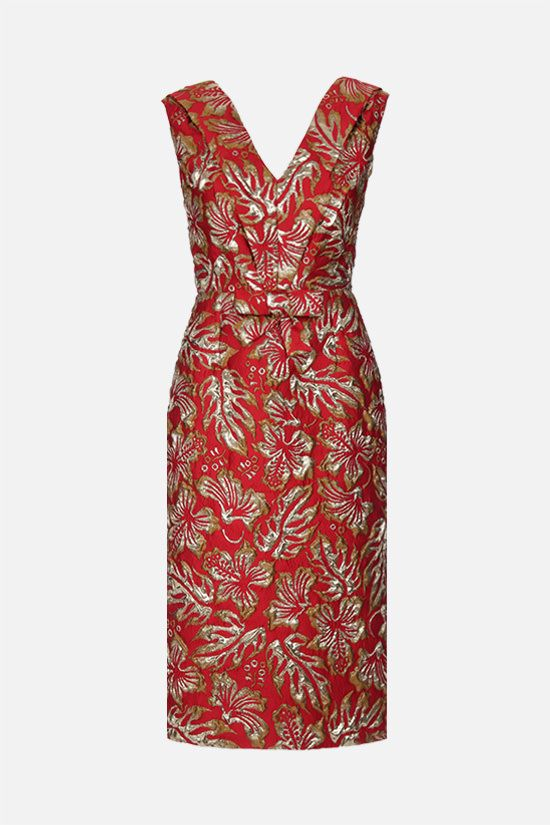 PRADA: hibiscus-motif cloquet midi dress Color Red_1
