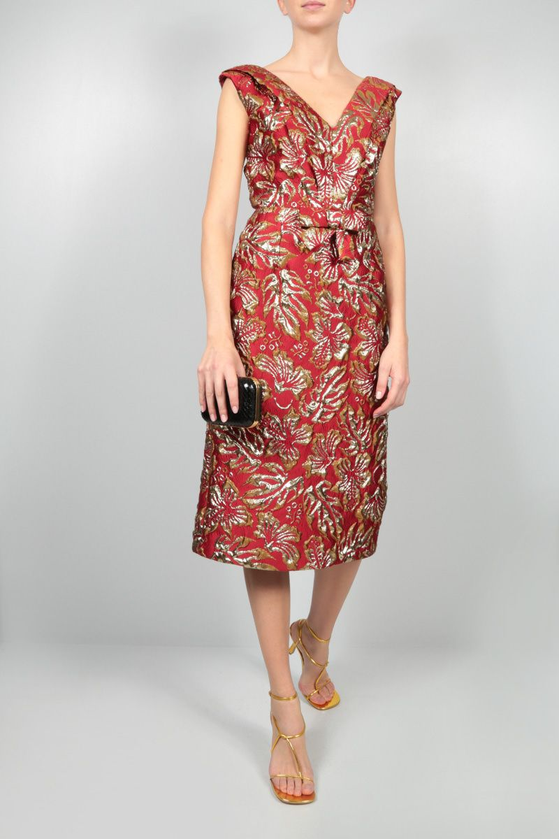 PRADA: hibiscus-motif cloquet midi dress Color Red_2