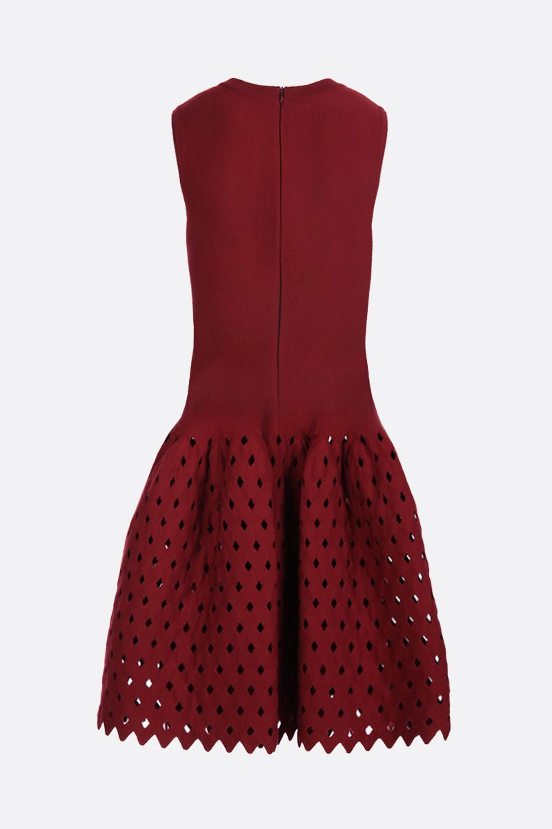 ALAIA: short dress with see-through details Color Red_2