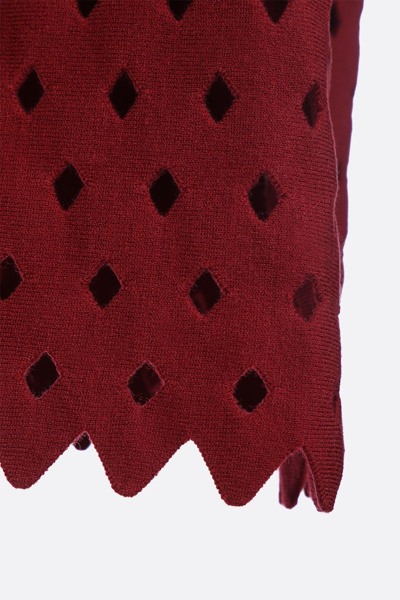 ALAIA: short dress with see-through details Color Red_3