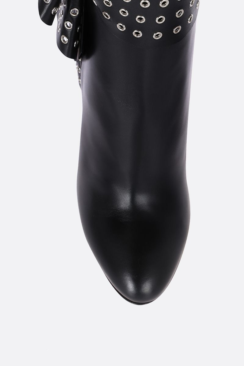 ALAIA: leather booties with draped detail Color Black_4