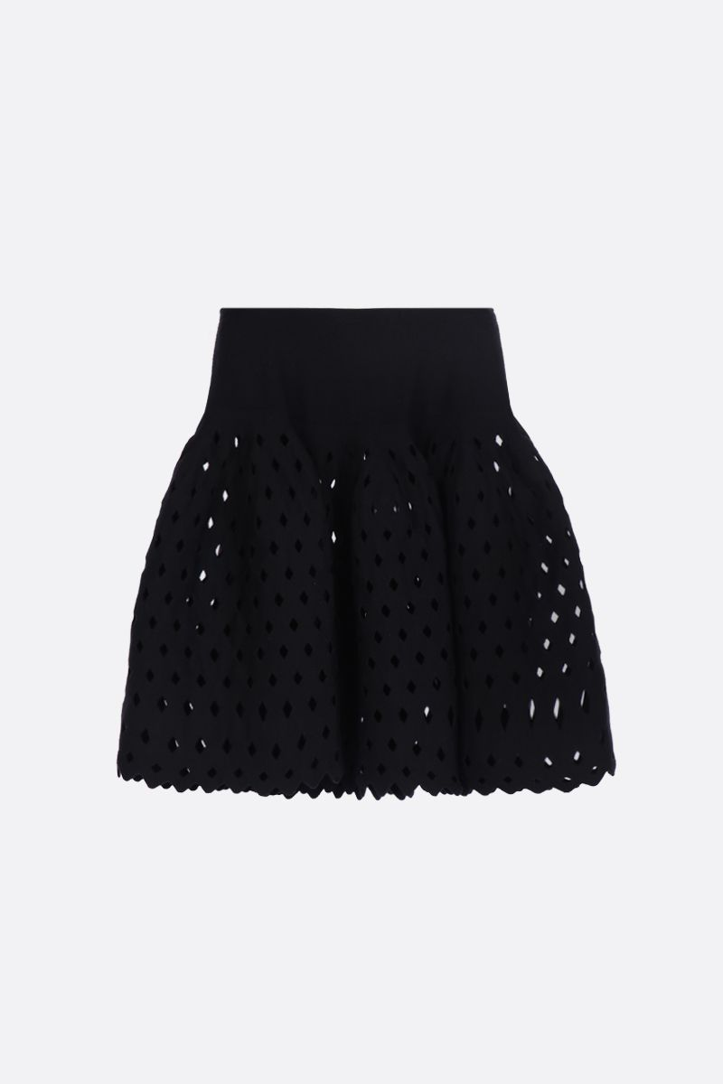 ALAIA: flared mini skirt with see-through details Color Black_1