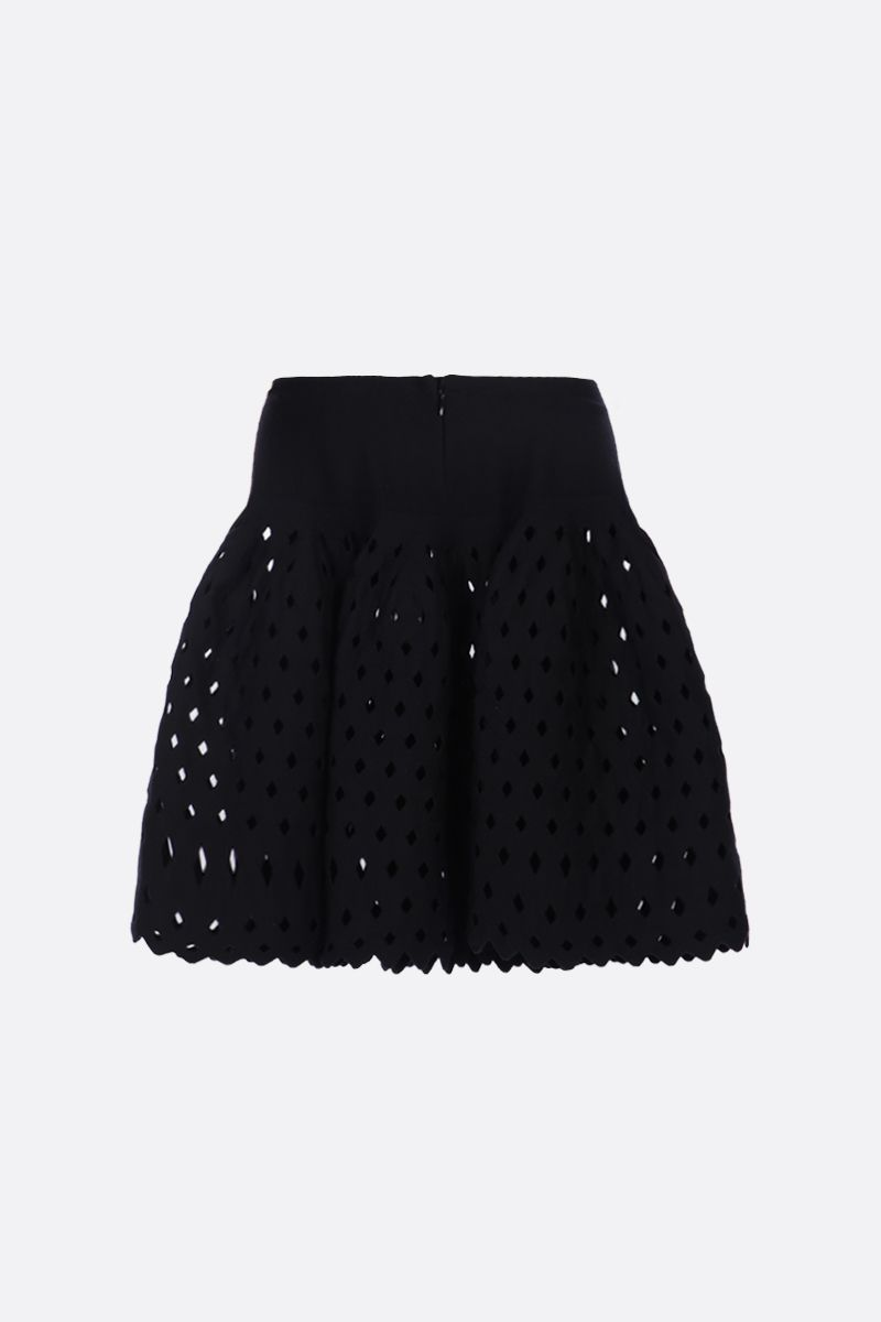 ALAIA: flared mini skirt with see-through details Color Black_2