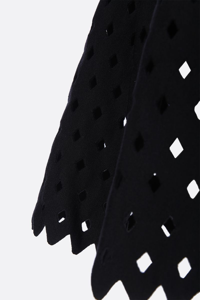 ALAIA: flared mini skirt with see-through details Color Black_3