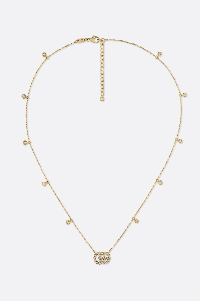 GUCCI: GG Running gold necklace with diamonds Color Yellow_1