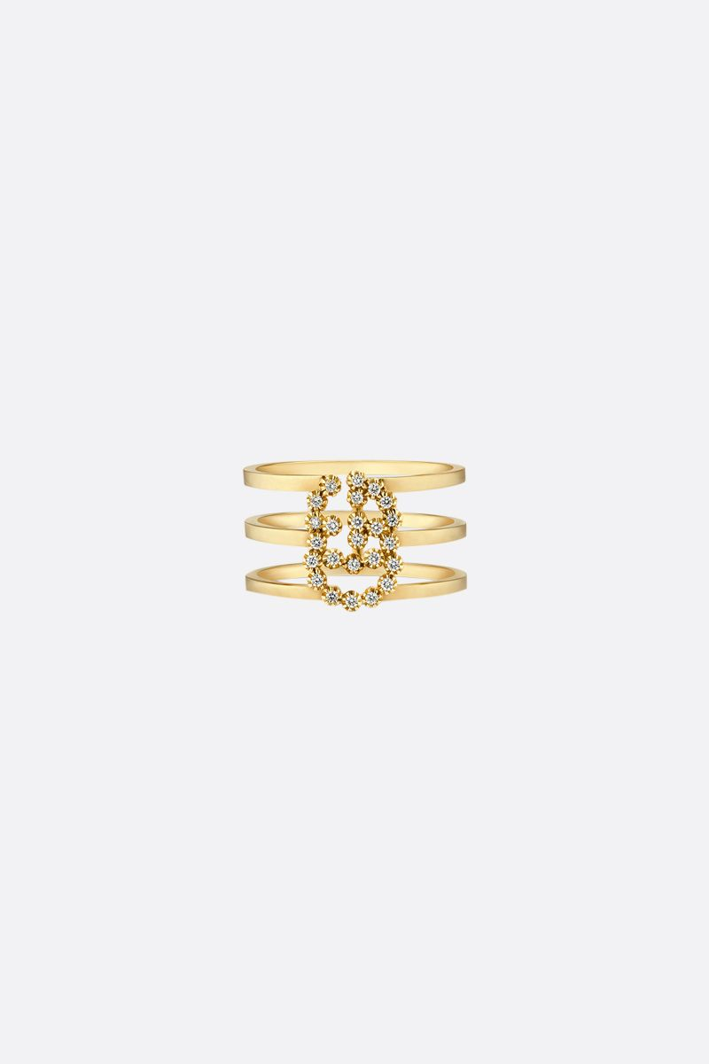 GUCCI: GG Running gold ring with diamonds Color Yellow_1