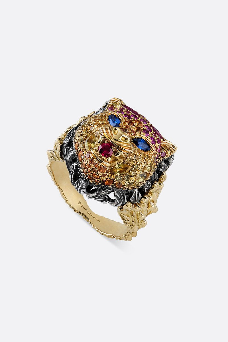 GUCCI: Le Marchè des Merveilles gold ring with sapphires and rubies Color Gold_4