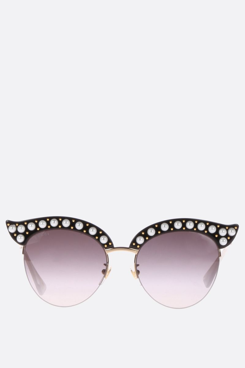 GUCCI: cat eye sunglasses with pearls Color Black_1