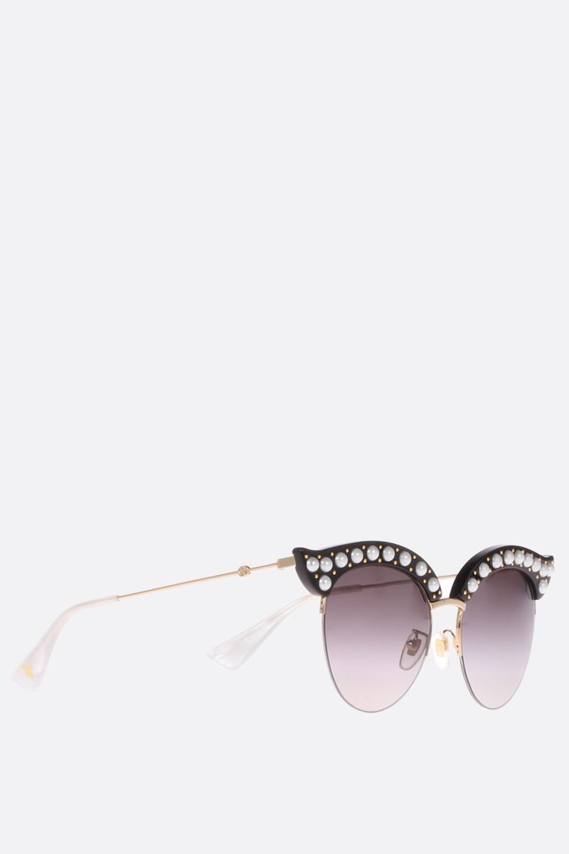 GUCCI: cat eye sunglasses with pearls Color Black_2
