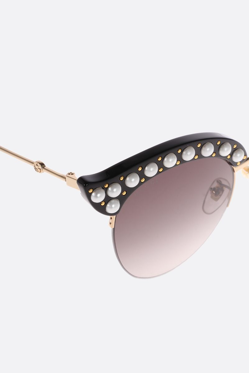 GUCCI: cat eye sunglasses with pearls Color Black_3