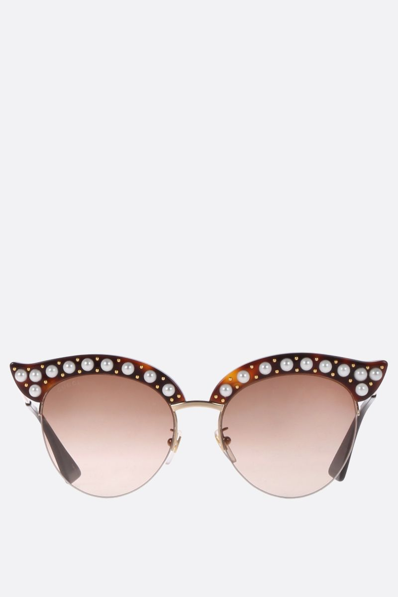GUCCI: cat eye sunglasses with pearls Color Brown_1