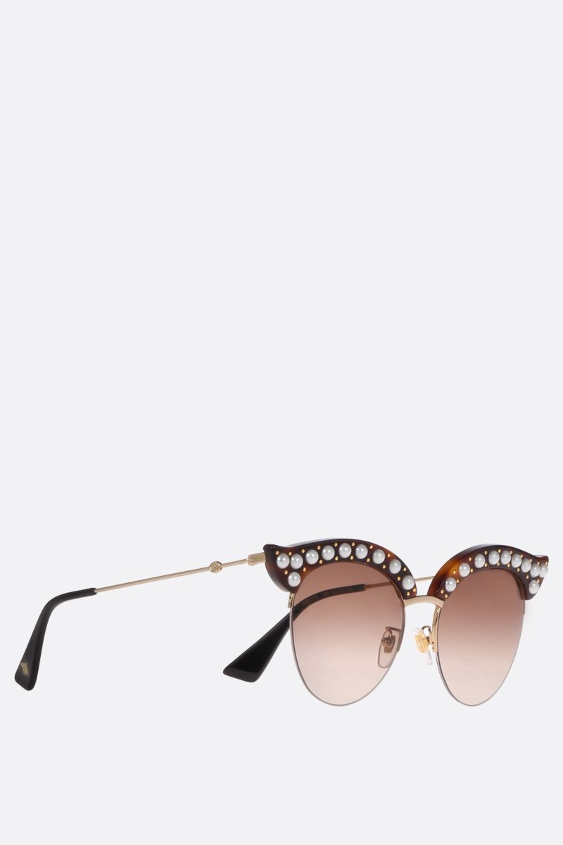GUCCI: cat eye sunglasses with pearls Color Brown_2