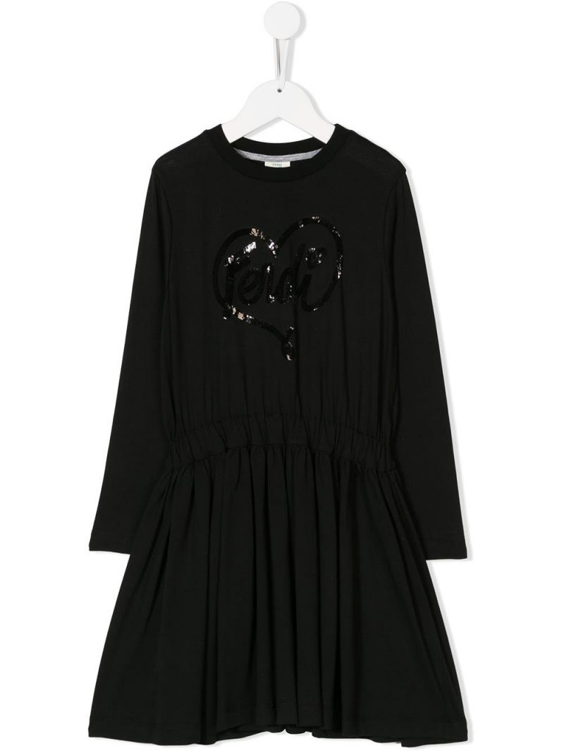 FENDI KIDS: cotton dress with sequinned logo Color Black_1
