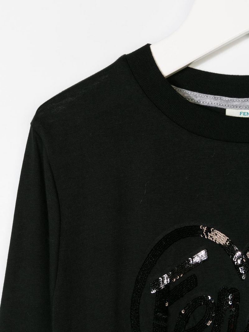 FENDI KIDS: cotton dress with sequinned logo Color Black_3